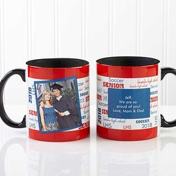 School Spirit Custom Photo Graduation Mug with Black Handle