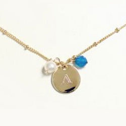 Personalized Pearl and Crystal Charm Necklace