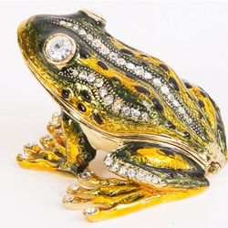Frog Trinket Box with Hand-Set Crystals