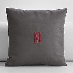 Personalized Gray Embroidered Throw Pillow