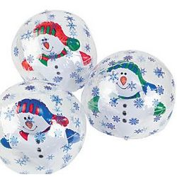 Snowflake Beach Ball with Inflatable Snowman Set