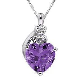 White Gold Amethyst and Diamond Heart Pendant