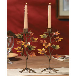 Maple Leaf Taper Candle Holders