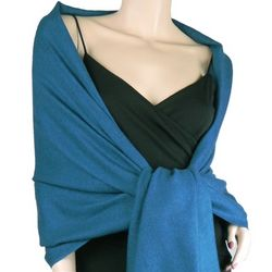 Pure Pashmina 2 Ply Wrap in Moroccan Blue