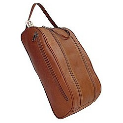 Leather Golf Shoe Bag with Double Zipper