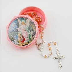 Guardian Angel Pink Baby Rosary