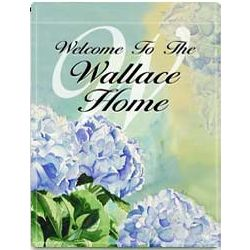 Personalized Blue Hydrangea 2 Sided Garden Flag