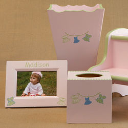 Dresses On The Line Waste Can, Tissue Box and Picture Frame Set