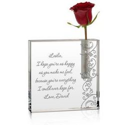 Romantic Crystal Personalized Bud Vase