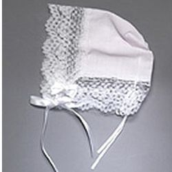 Baptismal Hankie Bonnet with Lace Trim