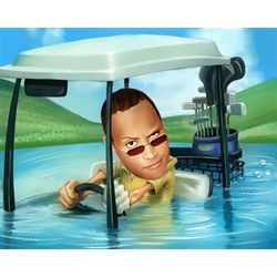 Water Hazard Golf Caricature Print from Photo