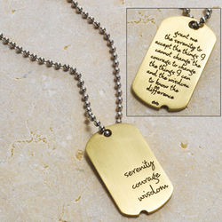 Sterling Silver Serenity Dog Tag Necklace