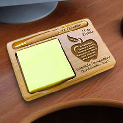 Personalized Apple Wooden Notepad and Pen Holder for Teacher