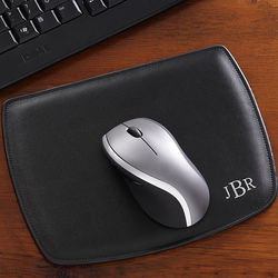 Personalized Black Leather Mouse Pad