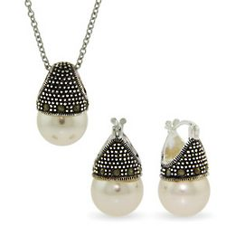 Lady Diana Royal Crowned Pearl Pendant and Earrings Set