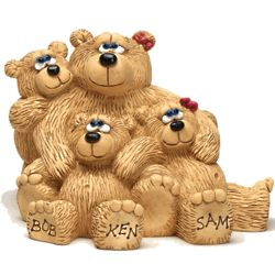 Bear Mother with Kids Personalized Figurine