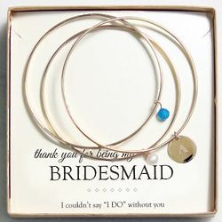 Bridesmaid's Personalized Pearl and Crystal Bangle Bracelets