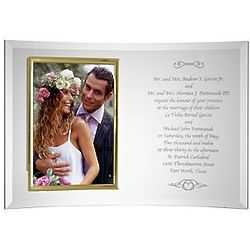 Personalized Beveled Glass Wedding Invitation Picture Frame