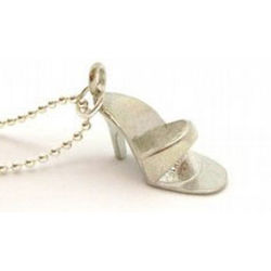 Sterling Silver Doll High Heel Shoe Necklace