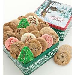 24 Assorted Cookies in a Warm Holidays Gift Tin