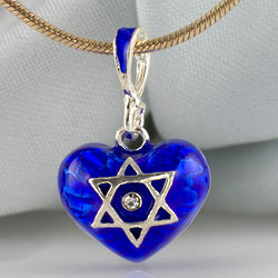 Blue Jewish Star and Chai Heart Necklace