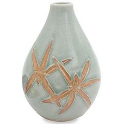 Dragonfly Orchids in Green Celadon Ceramic Vase