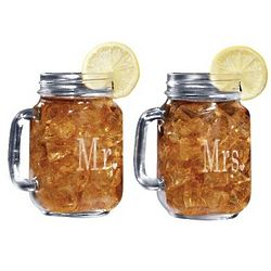 Mr. and Mrs. Mason Jar Glasses