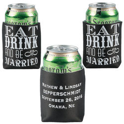 Personalized Eat, Drink, and Be Married Koozies