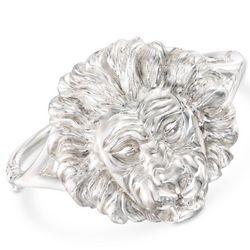 Italian Sterling Silver Lion's Head Bangle Bracelet