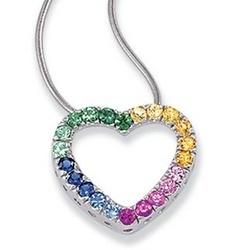 14k White Gold Multi Color Sapphire Heart Pendant