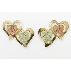 10K Gold Double-Heart Stud Earrings