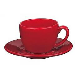 Cherry Red Espresso Cup with Saucer