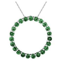 2.95 Carat Emerald Circle Pendant in Sterling Silver