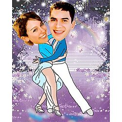 Romantic Skating Caricature from Photos