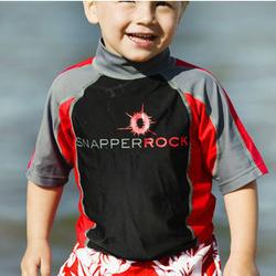 Boys UV50+ Rash Swim Top in Red, Black & Grey