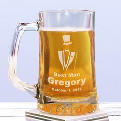 Engraved Groomsman Glass Mug