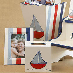 Sailboat Frame, Waste Basket & Tissue Box Set