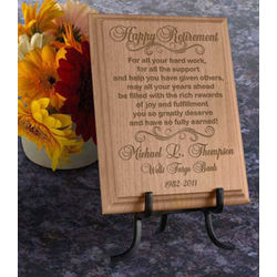 Personalized Happy Retirement Wooden Plaque