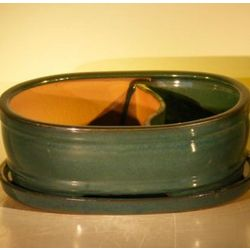 Land and Water Ceramic Bonsai Pot with Attached Matching Tray