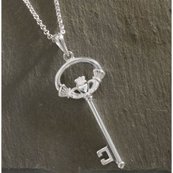 Sterling Silver Claddagh Key Pendant