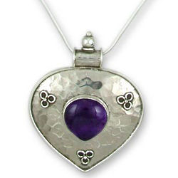 Eternal Violet Amethyst Heart Necklace