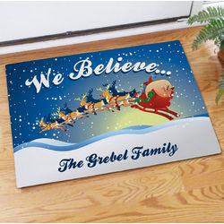 Personalized We Believe Christmas Doormat