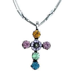 Multi-Color Crystal Cross Necklace