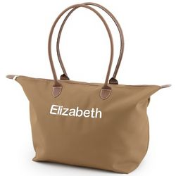 Embroidered Brown Tote Bag
