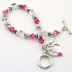Sterling Silver and Swarvoski Crystal Breast Cancer Bracelet