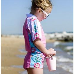 Girl's UV50+ Short Sleeve Floral Swimwear Set
