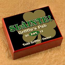 Personalized Slainte Gold Shamrock Humidor