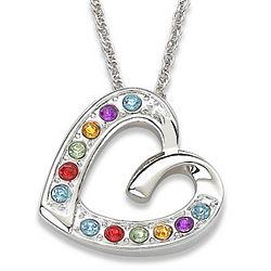 Crystal Rainbow Sliding Heart Necklace