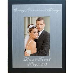 Engraved Silver and Black Wedding Frame