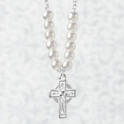 First Communion Celtic Cross with Pearls